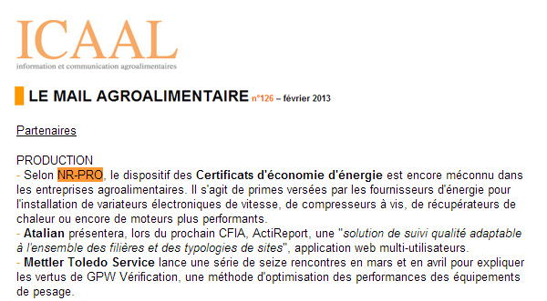 Le mail agroalimentaire